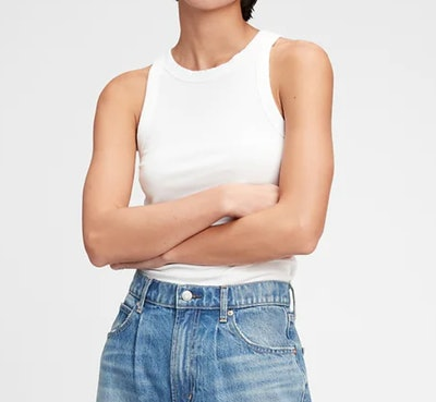 white high neck ribbed tank top from Gap