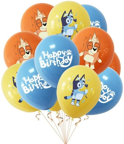 """Balloon bundle; balloons in orange, blue, and red featuring characters from """"Bluey"""""""