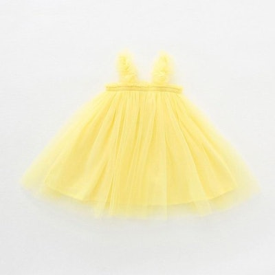 bright yellow tulle dress for kids