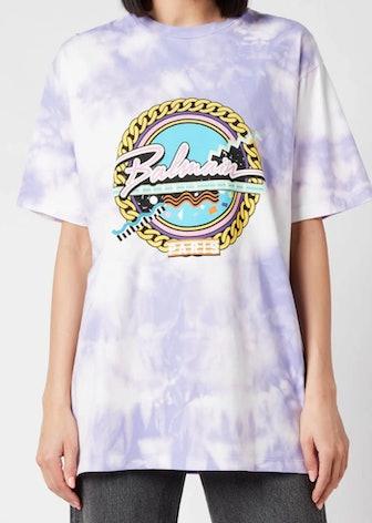 Balmain's oversized graphic tie dye T-shirt.