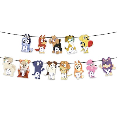 """Banner spelling out """"Happy Birthday"""" with characters from the show """"Bluey"""""""