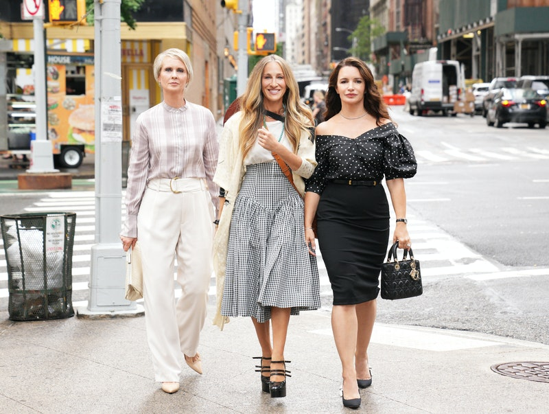 Cynthia Nixon as Miranda Hobbes, Sarah Jessica Parker as Carrie Bradshaw, Kristin Davis as Charlotte York in the HBO Max reboot of 'Sex and the City'
