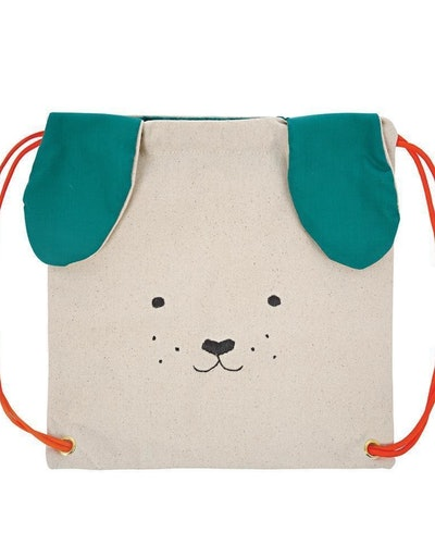 Canvas drawstring backpack with puppy face and floppy ears