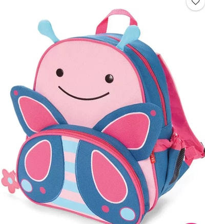 Preschooler backpack that looks like a butterfly in pink and blue
