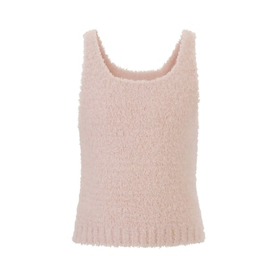 fuzzy pink tank top for kids, from Skims brand
