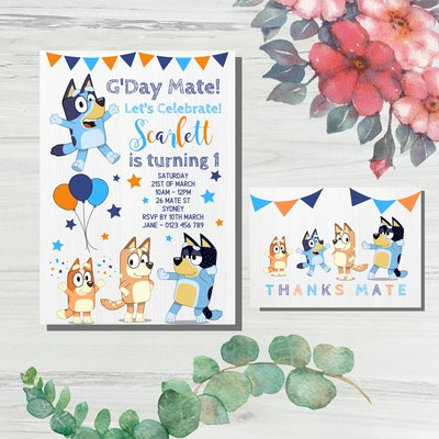 """Birthday party invitation featuring characters from the show """"Bluey"""""""