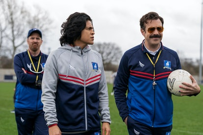 Jason Sudeikis as Ted Lasso and Cristo Fernández as Dani Rojas in 'Ted Lasso' Season  2
