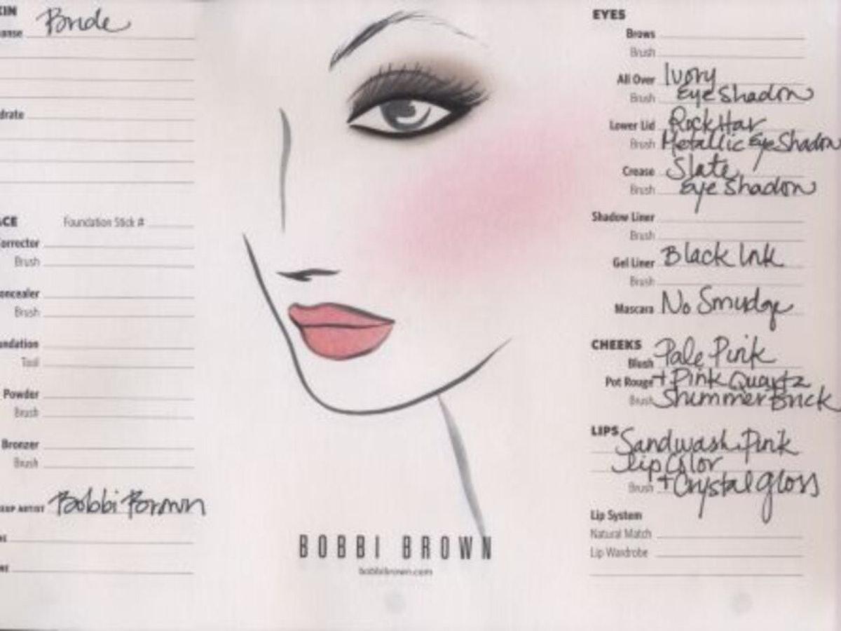 Kate Middleton's Wedding Day Makeup Chart by Bobbi Brown