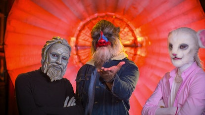 Archie the Stone Man, Bennett the Mandrill and Adam the Mouse in 'Sexy Beasts'