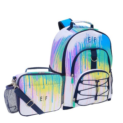 paint drip print backpack and lunchbox set from Pottery Barn