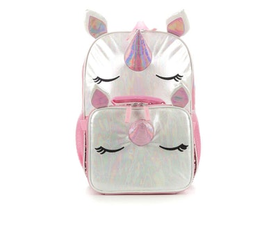 a unicorn face lunch box and backpack