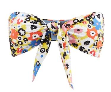 CALA DE LA CRUZ's floral printed bikini top with a knot front.