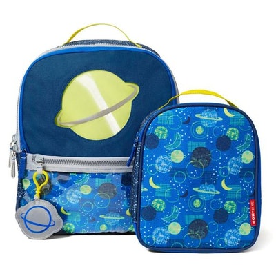 planet and space themed backpack and lunch box
