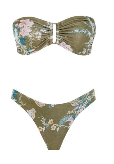 Zimmerman floral green bandeau bikini set.