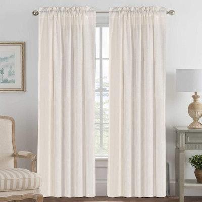 H.VERSAILTEX Light Filtering Linen Curtains (2- Pack)