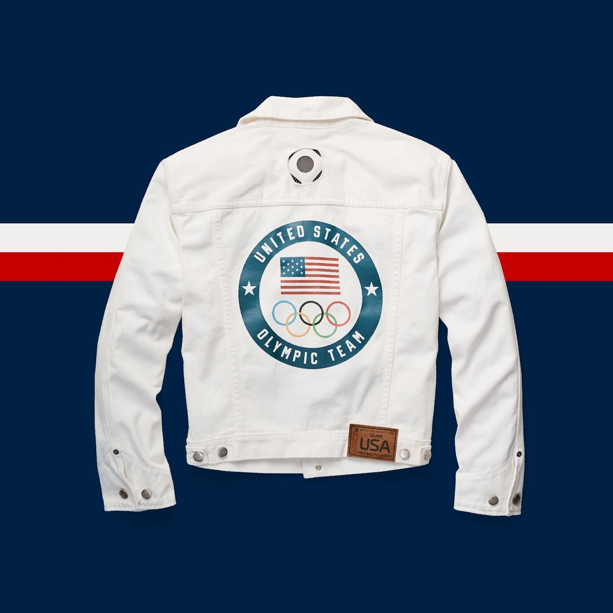 A flat lay image of the white jackets designed for the Team USA flag bearers at the 2021 Olympics, w...