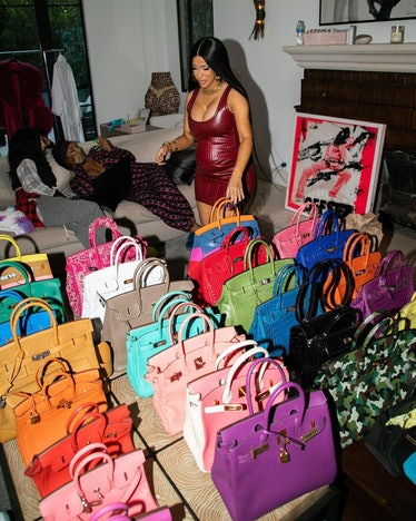 Cardi B and her large collection of Birkin bags.