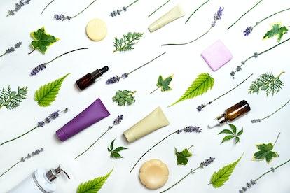 Bottles and plants flatlay