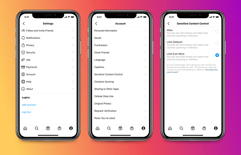 Screenshots showing how to use Instagram's Sensitive Content Control setting.