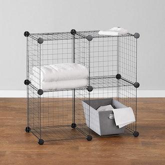 Amazon Basics 4 Cube Grid Wire Storage Shelves