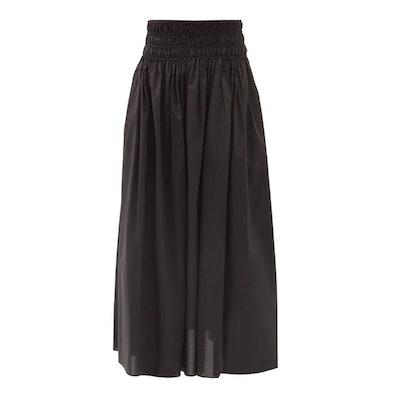 Matteau Shirred organic-cotton poplin maxi skirt