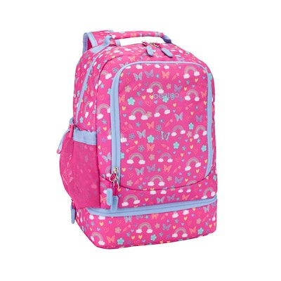 pink butterfly print backpack with zip-off lunchbox
