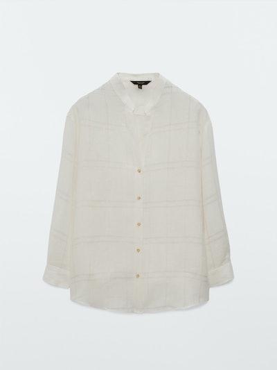 Textured Check Oversize Linen Blouse