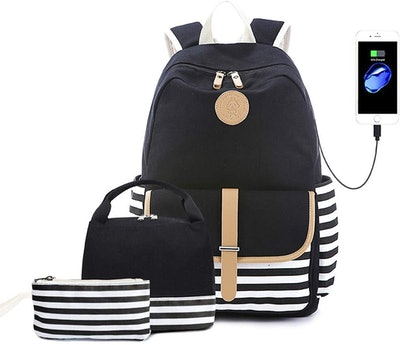 three piece nautical backpack set with lunch box and pencil case and charging case