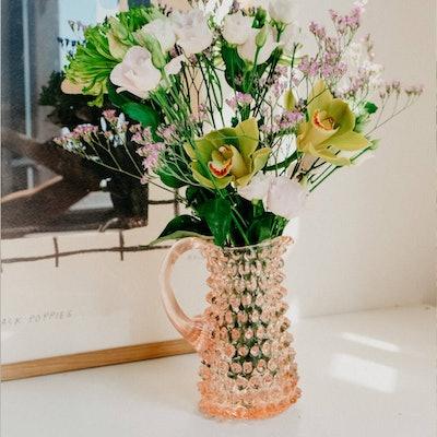 Esme Pink Hobnail Glass Flower Vase Jug