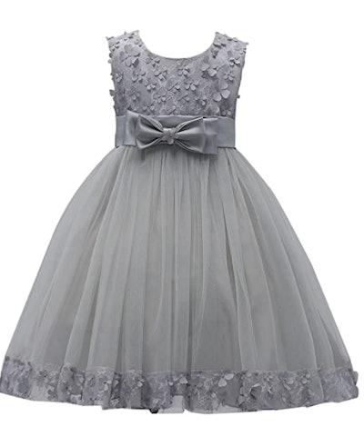 grey tulle flower girl dress