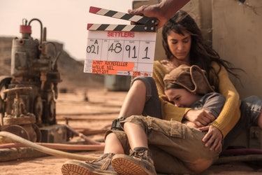 Sofia Boutella filming a scene with Brooklynn Prince on set of Settlers