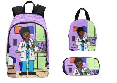 backpack, pencil case, and lunch box set featuring a Black woman doctor