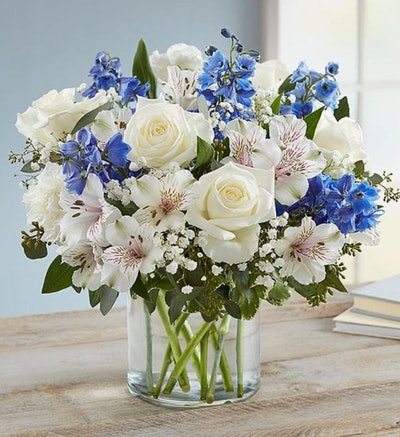 blue and white floral bouquet 1-800 flowers