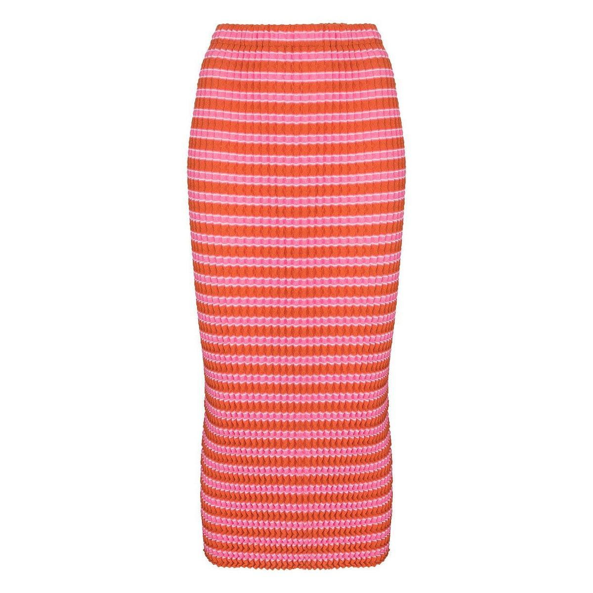 Issey Miyake Spongy striped midi skirt