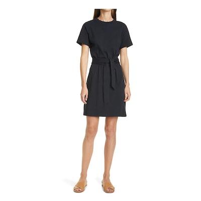 Vince Tie Waist Short Sleeve Cotton Dress