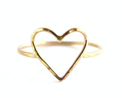 hammered heart ring