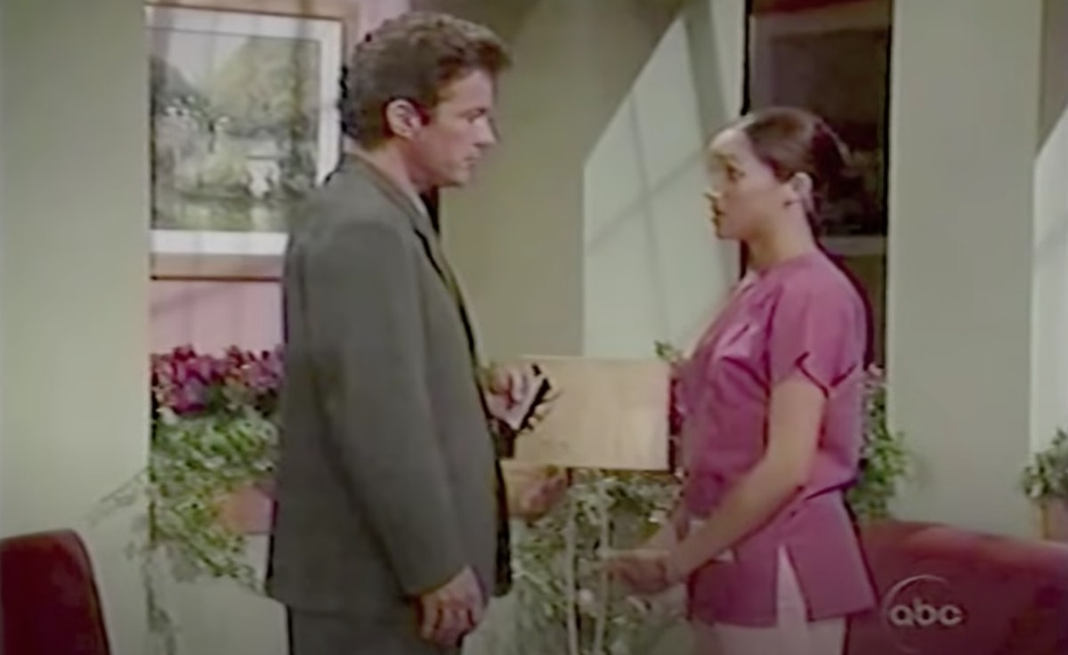 Meghan Markle, shown here on 'General Hospital' in pink scrubs, first started acting in 2002.