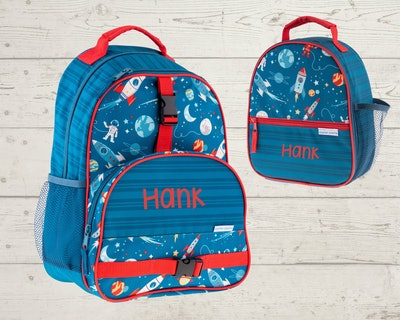 a monogrammed backpack and lunch box set with space rocket ship print