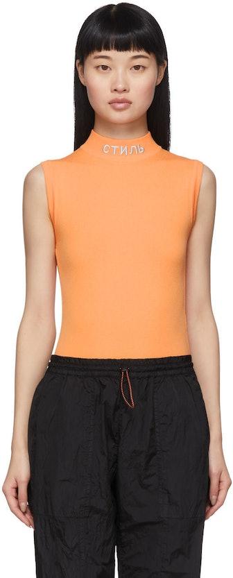 Heron Preston Orange 'Style' Mock Neck Bodysuit, available to shop on SSENSE.