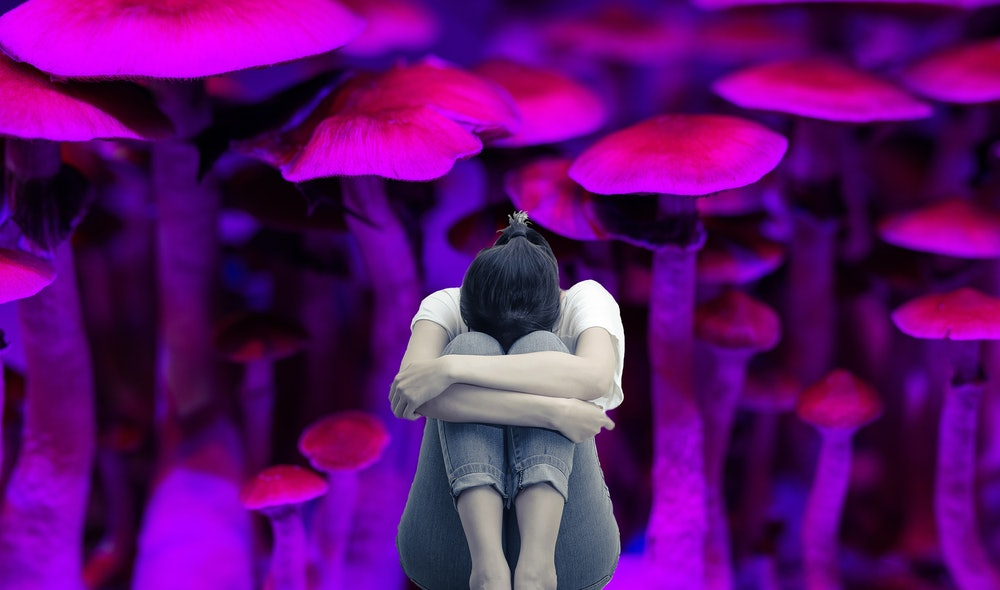 woman and mushrooms