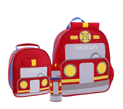 a fire truck backpack lunch box and water bottle set