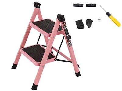 pink 3-step foldable ladder
