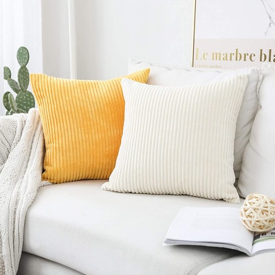 Home Brilliant Striped Corduroy Throw Pillow Covers (Set of 2)