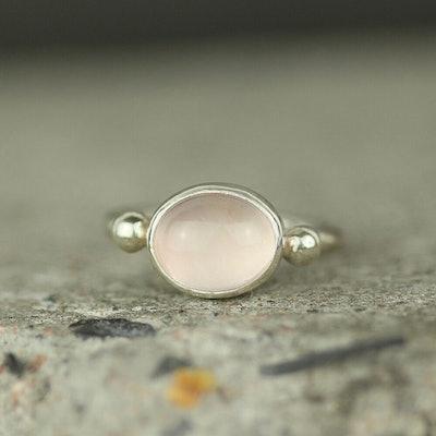 Rose Quartz Silver Stud Ring