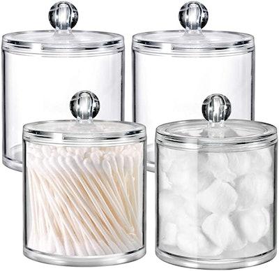 SheeChung Acrylic Bathroom Vanity Jars (4-Pack)