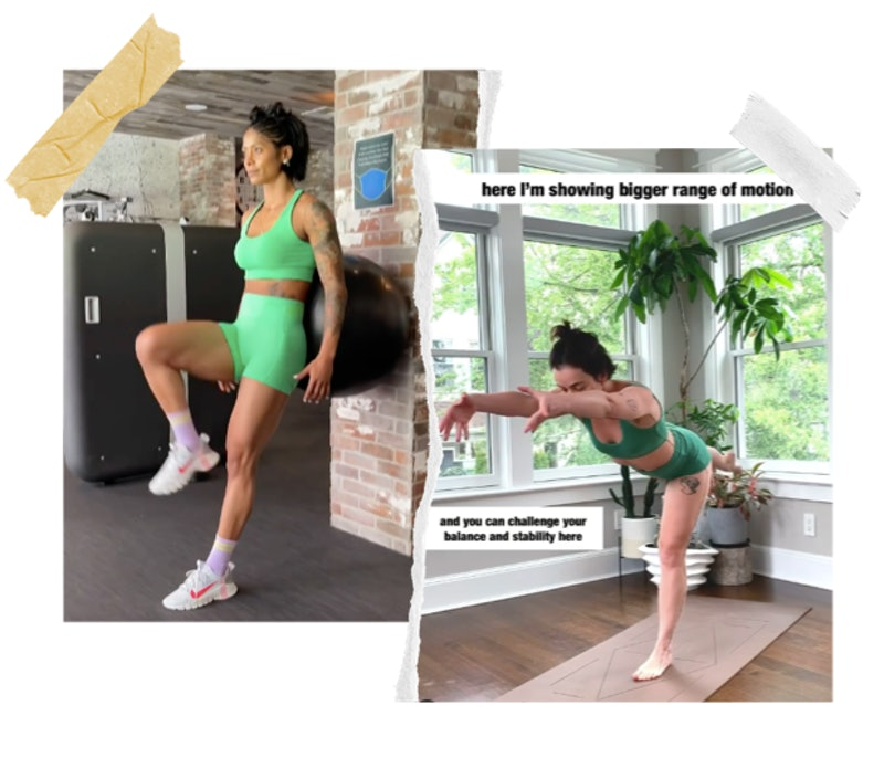 Screenshots of Massy Arias and Bethany C. Meyers, two online fitness instructors like Yoga With Adri...