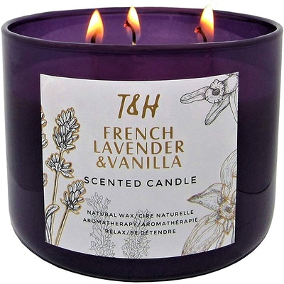 T&H French Lavender Vanilla Scented Candle, 16 Oz.