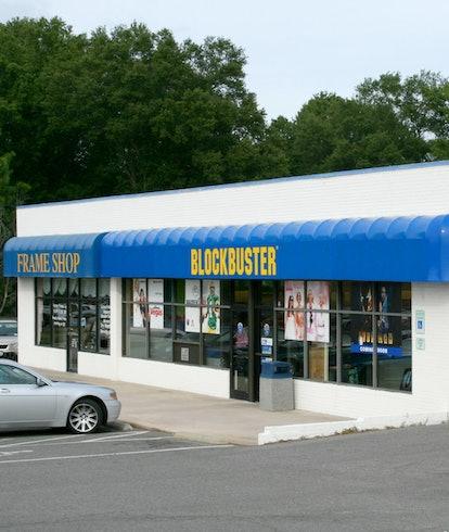 A Blockbuster video rental store
