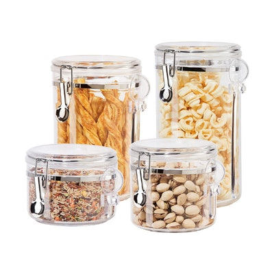 Oggi Clear Canister Set with Clamp Lids & Spoons (4 Pieces)