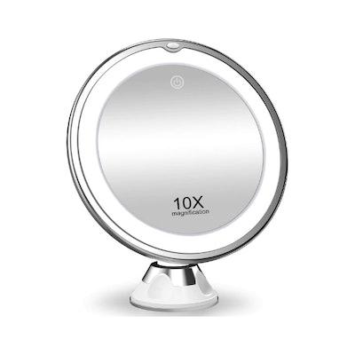 KOOLORBS 10X Magnifying Rotating Makeup Mirror with Lights